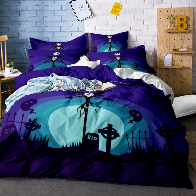 3pcs halloween bedding kids single size cartoon nightmare before christmas bedding sets quilt cover pillowcase bed - Nightmare Before Christmas Furniture