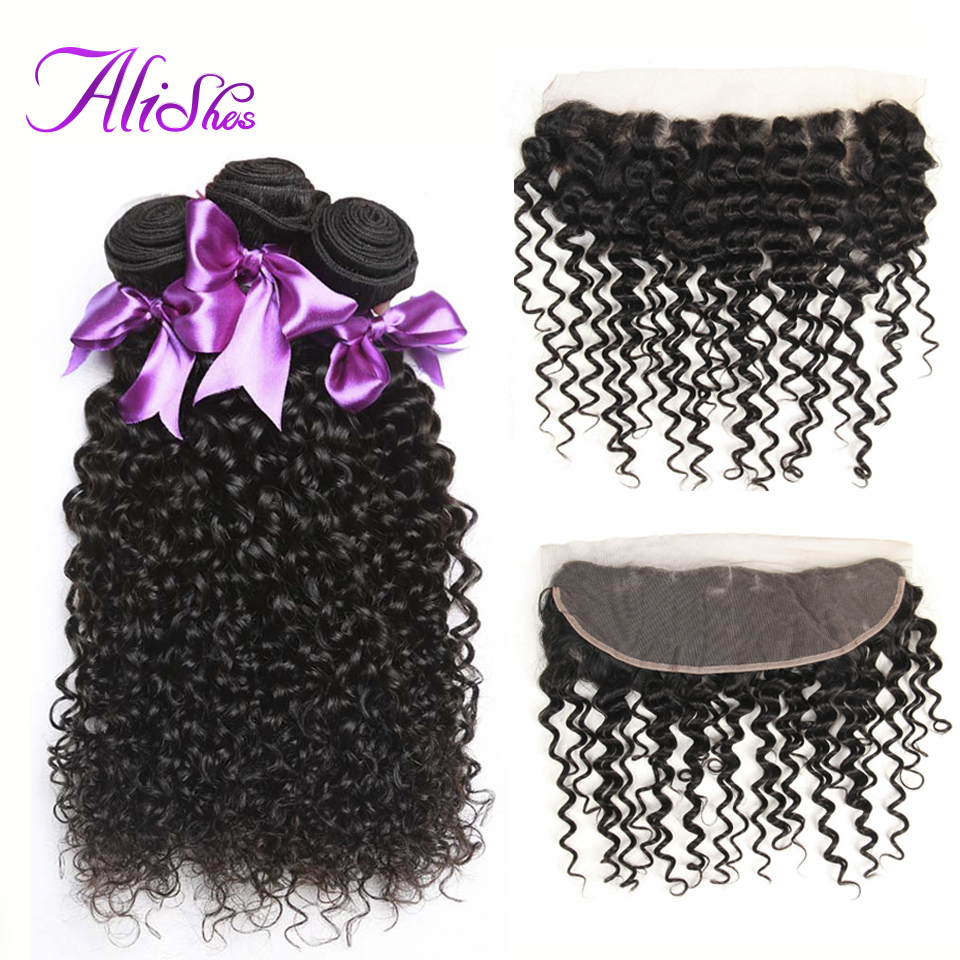 Alishes Hair Brazilian Curly Hair 3 Bundles With Frontal 100% Human Hair Remy Hair Bundles With Frontal Closure Free Shipping