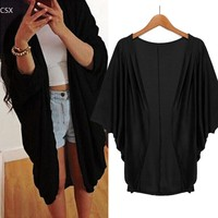 2016 Fashion Spring Women Casual Loose Batwing Cardigans Shawl Jacket Coat Top Batwing Sleeve Long Solid