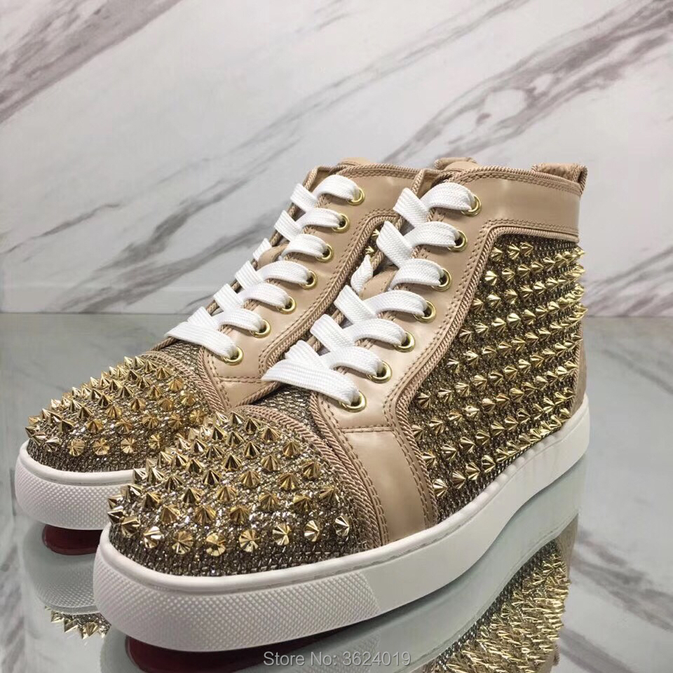 Cl Paillettes Dentelle En Up Andgz Top Chaussures Sneakers Graffiti Or Pour Motif Abricot Rivets Cuir Rouge Plat Fleur Fond Haute Homme XfqU55