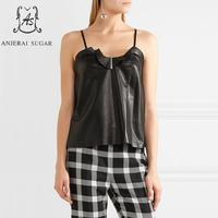 Summer tops for women sheepskin genuine leather crop top motorcycle female black sexy OL Camis leather spaghetti strap top