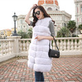2016 New full leather imitation fox fur vest X-Long horizontal stripe slim vest outerwear women