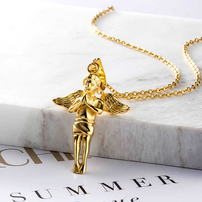 stainless steel necklace New Fashion Angel Pendant Choker gold Necklace Eco-Friendly Boho Chain Necklace Collier Women Jewelry