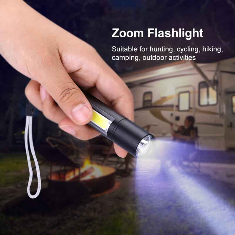 Outdoor LED Flashlight Torch lanterna Portable T6+COB Pocket Small Waterproof Telescopic zoom Penlight 3 Modes Torch Camping