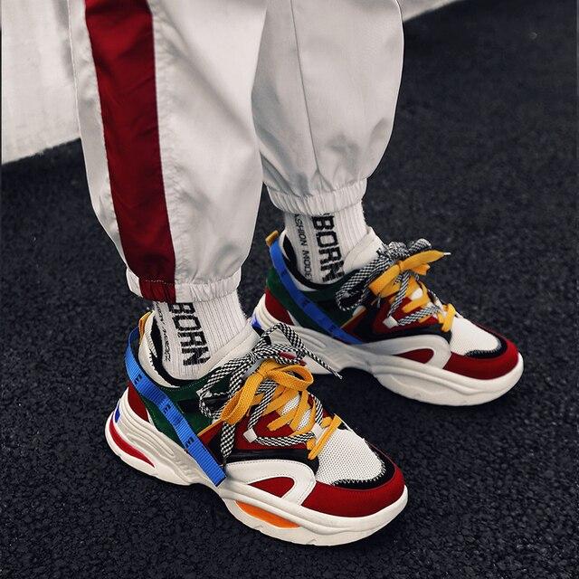 גברים של נעליים יומיומיות מאמני סניקרס אבא נעלי גברים חורף קלאסי גבוהה פלטפורמת שמנמן נעל שחור ולבן סניקרס גברים נעל