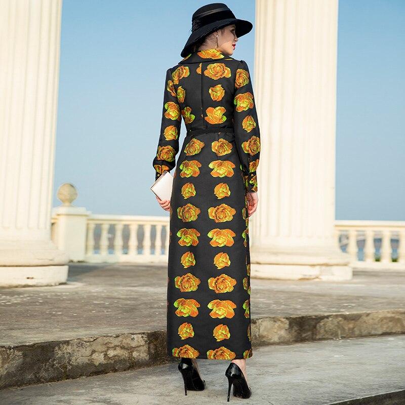 Automne coat Manteau vent long Long Femmes Floral Pour De X Maxi Trench Printemps Mujer Dobby Coupe Moda Dz1041 Ropa 1YqgqxS