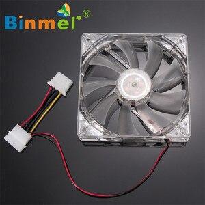 Image 4 - BINMER 120x120x25mm 4 פינים מחשב מאוורר צבעוני Quad 4 LED אור ניאון ברור 120mm מחשב מארז מחשב קירור מאוורר Mod C0608