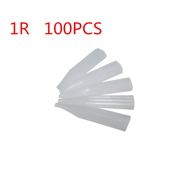 100 Pieces Per Lot 1R Round Sterilized Plastic Disposable Eyebrow Lip Tattoo Permanent Makeup Tips Top Quality Needle Caps