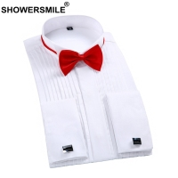SHOWERSMILE Tuxedo Shirt Men Wedding Formal Shirt Cotton Plus Size 4xl Spring Autumn White Dress Shirt French Cuff Male Clothing