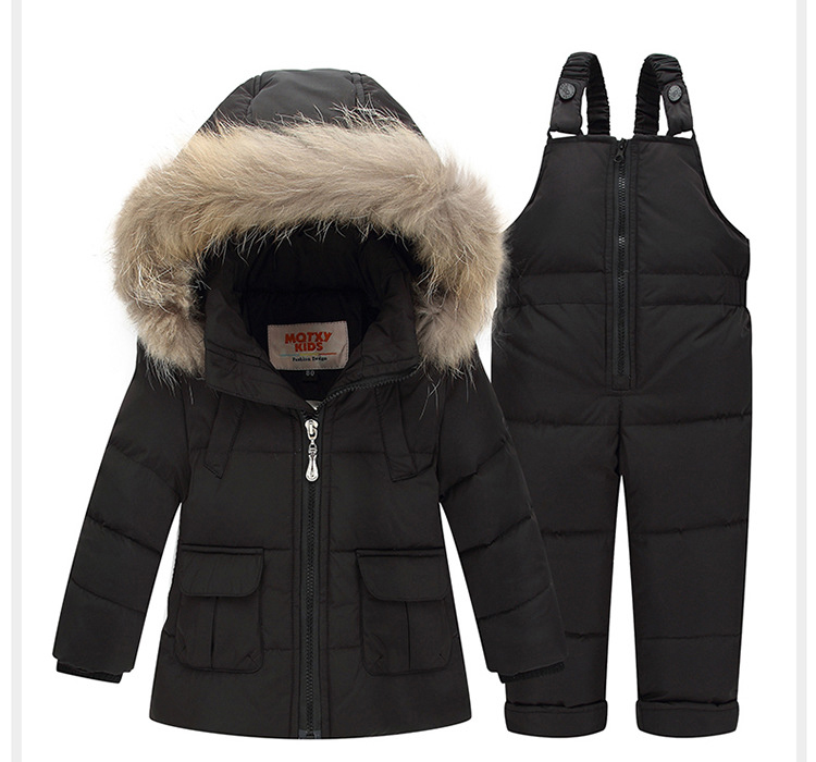 2017 Children Winter Down Jacket Suit Thick Coat+Jumpsuit Baby Clothes Set Boys Snowsuit Girls Hooded White Duck Down Jackets 2016 winter boys ski suit set children s snowsuit for baby girl snow overalls ntural fur down jackets trousers clothing sets