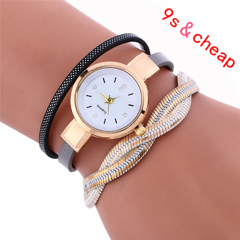 Wrap Weaving Around Fashion Bracelet Lady Womans Wrist Watch Brand New High Quality Luxury Free Shipping #110717