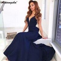 V Neck Open Back Sleeveless Satin Long Prom Dresses robe de soiree Navy Blue Mermaid Formal Dress Elegant Evening Gown 2018