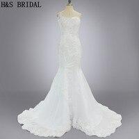 Modello reale Vestido De Noiva Una spalla mermaid appliques bordare bianco elegante abito da sposa