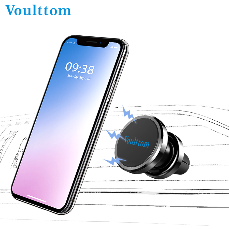 Voulttom Car Phone Holder Magnetic 360 Degree Rotation Aluminium Alloy Air Mount in car for iPhone Samsung Huawei GPS Tablets