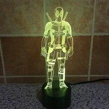 Бесплатная Доставка USB зарядка 3D изменение цвета Marvel Hero Дэдпул СВЕТОДИОДНОЙ Night Light, красочные СВЕТОДИОДНЫЕ Лампы Настроение для Детей 3D игрушки