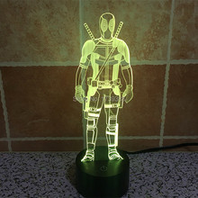 Free Shipping USB charging 3D color change Marvel Hero Deadpool LED Night Light, colorful LED Mood Lamp for Children 3D toys