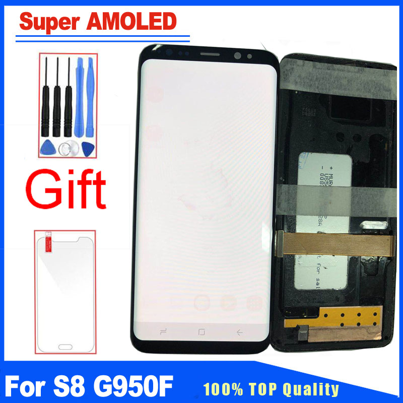 For Samsung Galaxy S8 G950F G950A G950W LCD Display Touch Screen Digitizer Replacement+Frame With Burned Shadow Ghost Picture