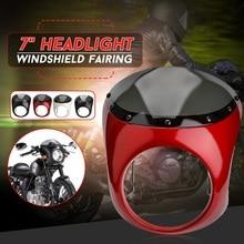 Новый пригодный для Harley 7 Inch Мотоцикл фар обтекатель лобовое стекло с защитной ретро кафе рукоятки руля лампы фар комплект