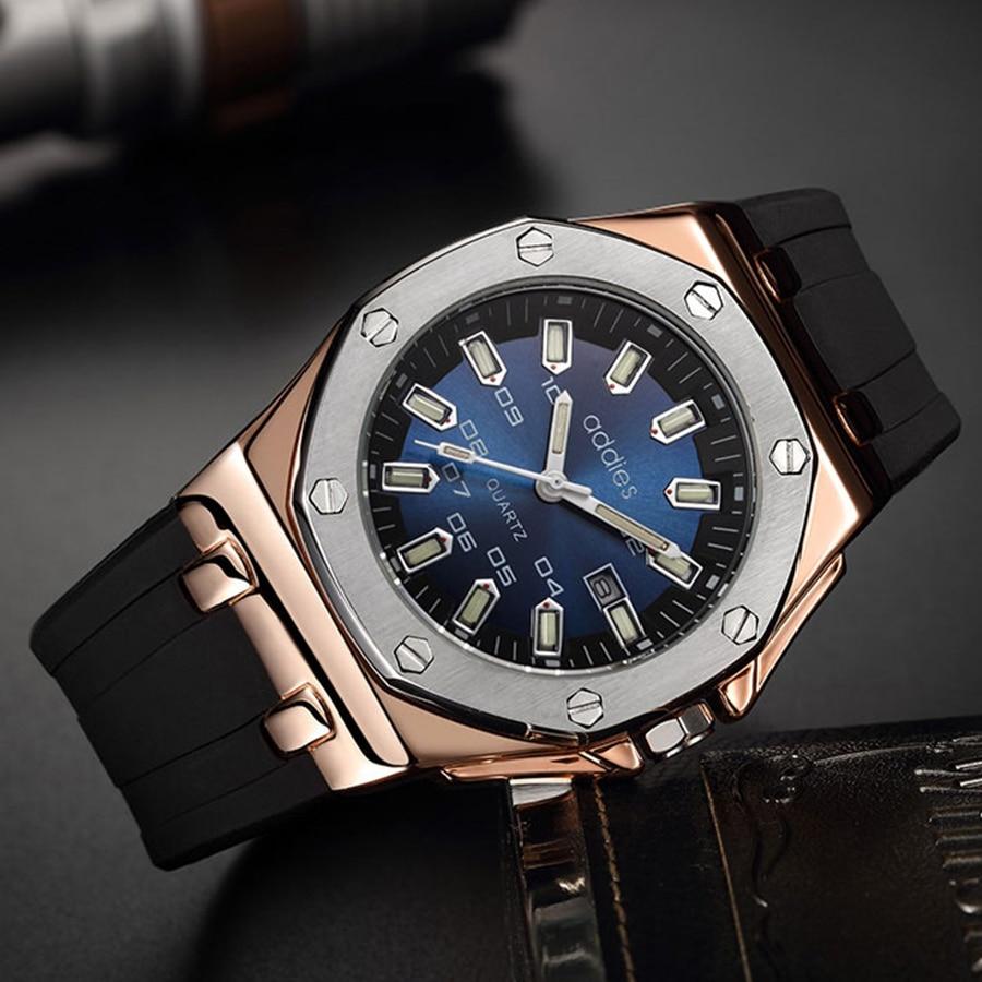 Aidis 2018 New Men Watches Top Brand Luxury Mens Military Waterproof Quartz Watch Men Sport Silicone Clock Relogio Masculino+Box