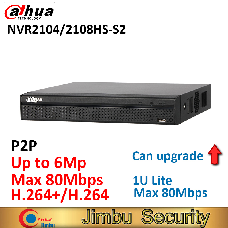 Dahua network DVR video recorder NVR2104HS-S2 NVR2108HS-S2 4CH 8CH Max 80Mbps Up to 6Mp resolution 1U Lite Network Recorder dahua 4ch smart 1u 4poe lite network video recorder english version h 264 h 264 hd 1080p up to 6mp without logo nvr2104 p s2