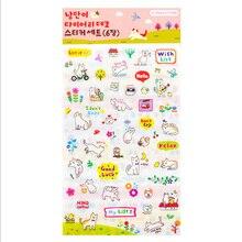 6 pcs/pack Cute Cat decorative sticker Diary Album Label Sticker DIY Decoration Stationery Stickers Escolar