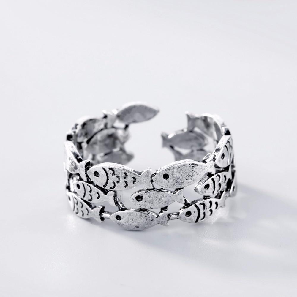 Summer Fish Antique Women Rings Ocean Sea Animal Swim Lovely Cute Girls Bohemia Silver Jewelry Adjustable Finger Ring Wedding