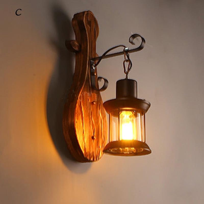 BOCHSBC abat jour en verre lampes murales en bois pour salon café Bar rétro nostalgie idusterie applique personnalité luminaires - 6