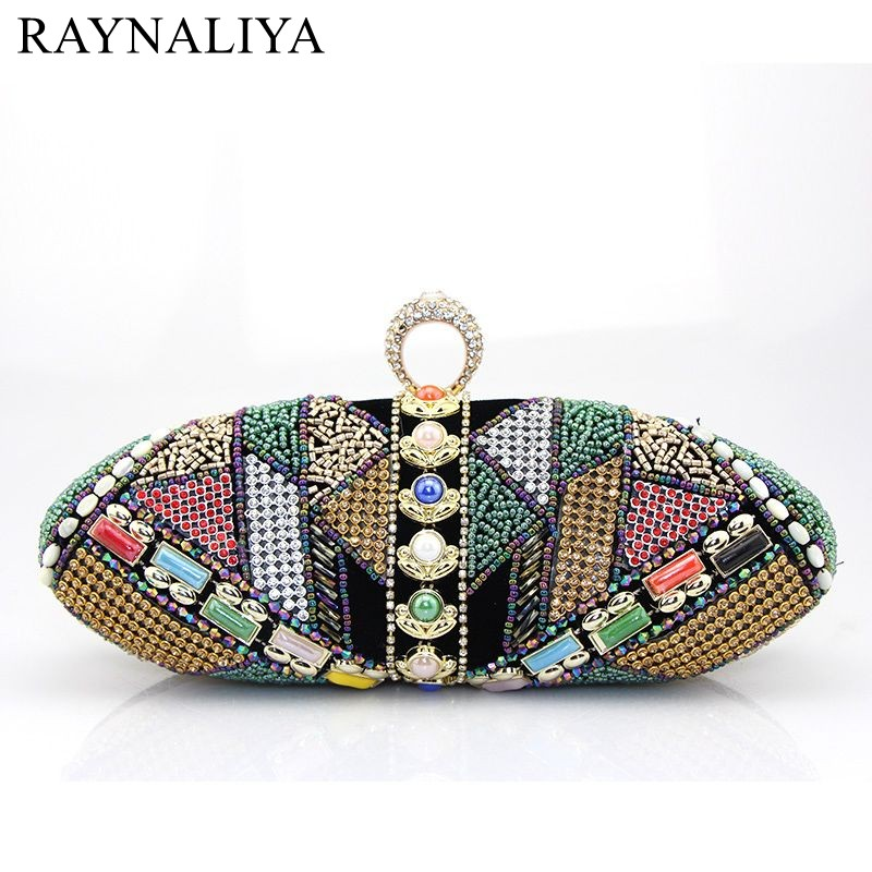 Women Crystal Evening Bags Retro Chain Beading Clutch Wedding Diamond Beaded Bags Rhinestone Small Shoulder Bag Smycy-e0014 2017 fashion all match retro split leather women bag top grade small shoulder bags multilayer mini chain women messenger bags
