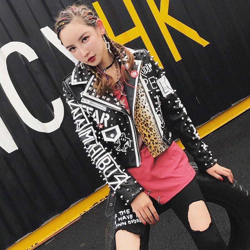 Pour Automne Rock Lettres Veste En Léopard Mode Streetwear Rivet Cuir Femmes Punk Noir 2017 Impression Moto Style De 07wWnd