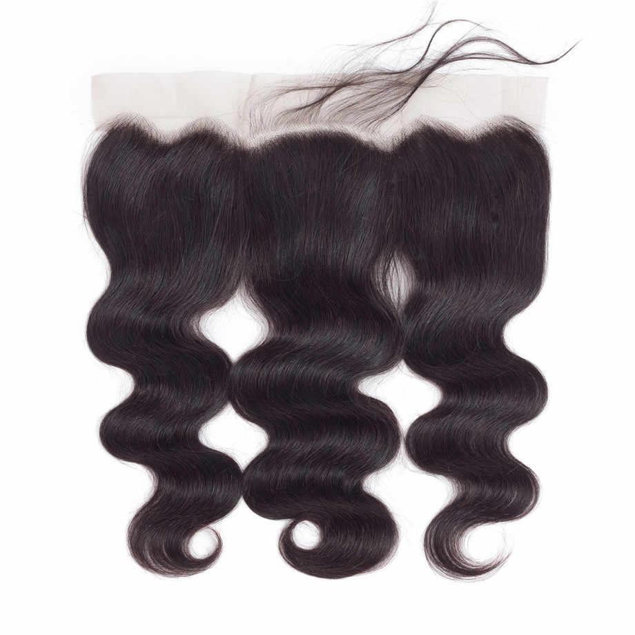 Bling cabelo onda do corpo 13x6 fechamento frontal do laço brasileiro 100% remy fechamento do laço do cabelo humano livre/meio/três parte cor natural