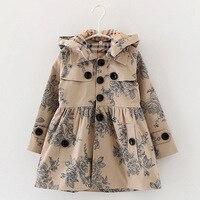 Designer children's Girls clothes autumn/winter girls trench coat jacket Hat floral hoodies children jacket coat
