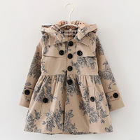 Tasarımcı çocuk Kız elbise sonbahar/kış kız trençkot ceket Şapka çiçek hoodies çocuk ceket ceket