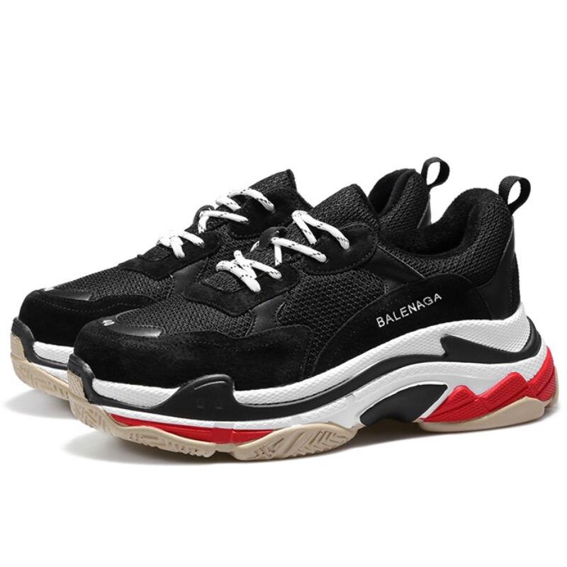 2019 Printemps Style Bout Rond décontracté Chunky Sneaker Noir Abruti chaussures de papa Panier Femme Sneakers Femmes Vulcaniser Chaussures B936