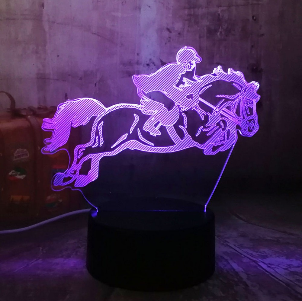 New Equestrian Riding Horse 7 Color Change 3D Visual LED Night Light Kids Touch USB Table Lamp Baby Sleeping Decor Sports Gifts