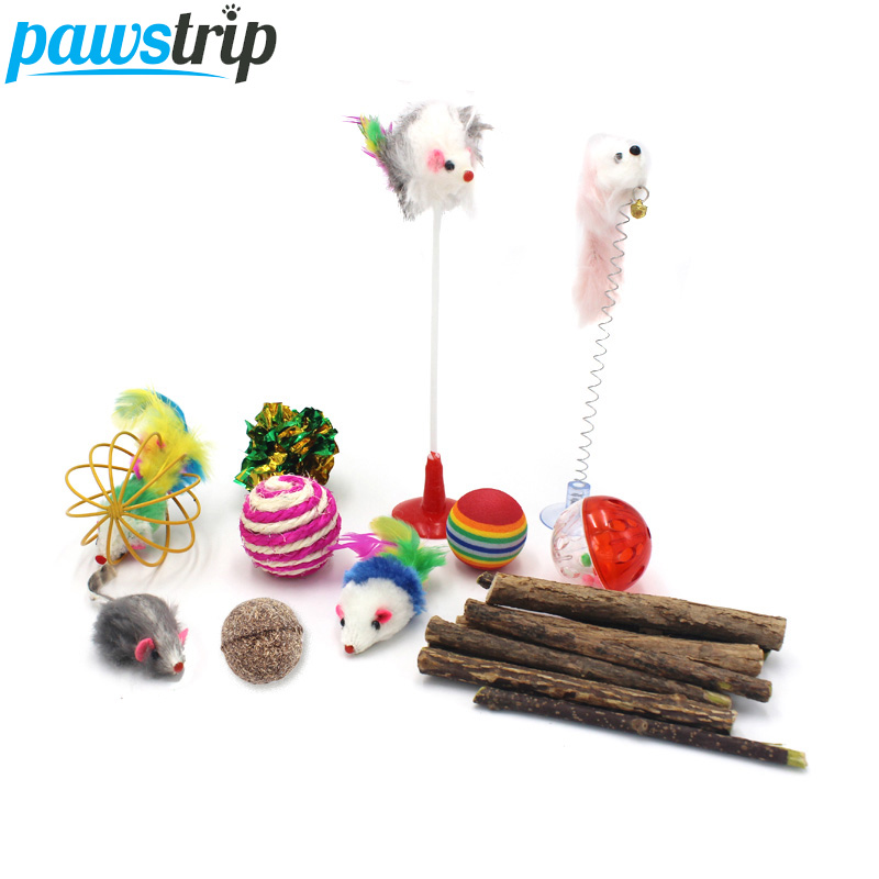 pawstrip 11 Various Interactive Cat Toys False Mouse Feather Catnip Ball Playing Funny Pet Toy For Cats