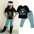 2016 New 2Pcs Toddler Baby Girls Kids Dress T-shirt Tops+ Long Pants Clothes Outfits Set toddler girl clothing baby girl clothes