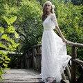 2016 Romantic Bohemian Beach Lace Wedding Dress Elegant Plus Size Floor Length Boho Wedding Gown Vestidos De Noiva
