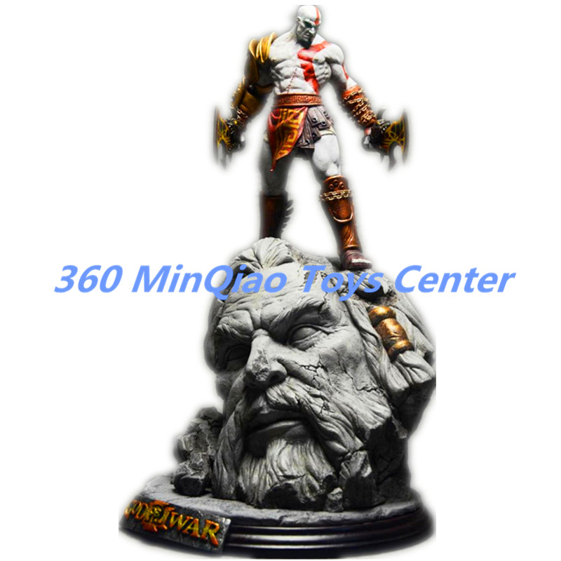 ФОТО new god of war 3 kratos on zeus head resin figure statue fans collection 26cm  retail box wu784
