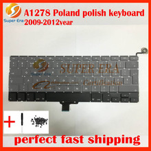 10pcs/lot new original for macbook pro 13inch A1278 polish poland keyboard without backlight backlit 2009-2012year