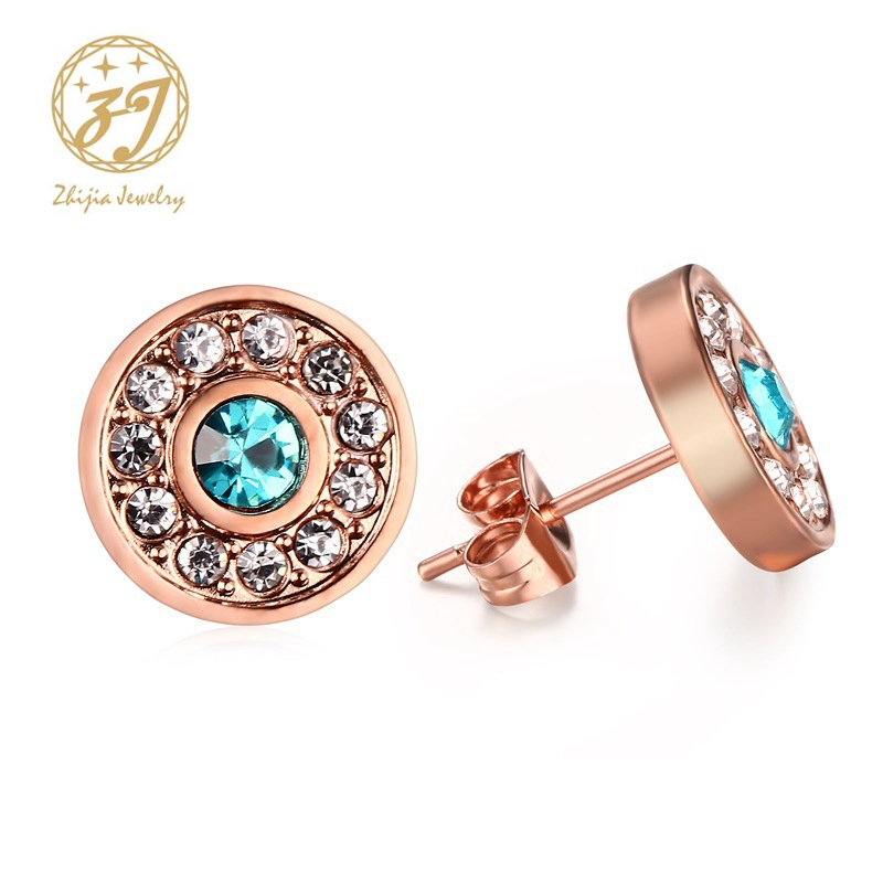 Zhijia Rose Gold color Earrings For Women Stainless Steel Earrings 2018 Fashion Jewelry Accessories Stud Earring Free Shipping