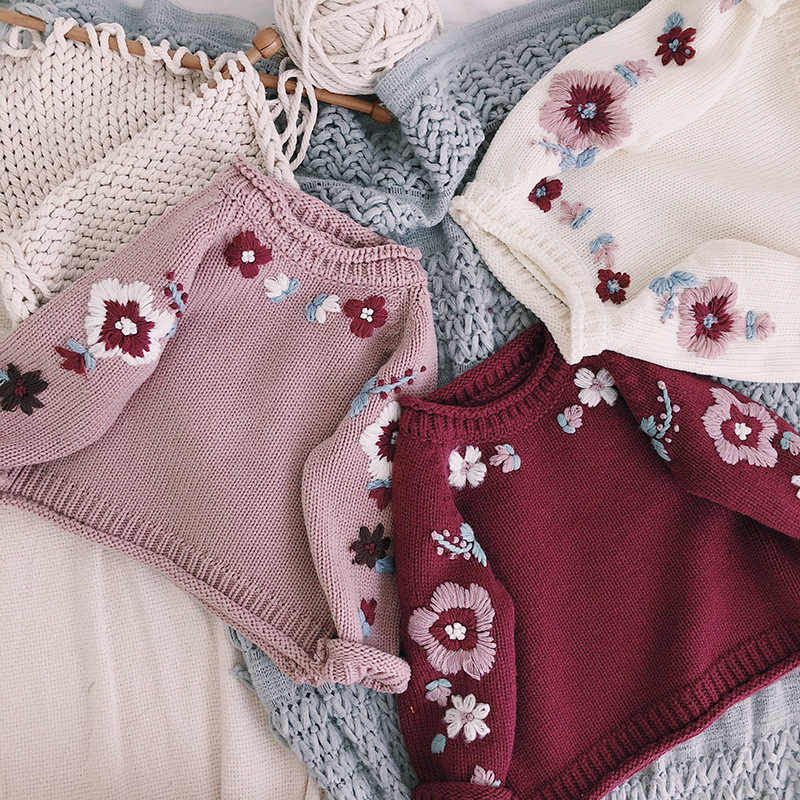 0f8f76a3ecb 2018 Winter Floral Embroidery Knitted Children Girls Sweaters Handmade  Flower Baby Pullover Cardigan Toddler Kids Clothes