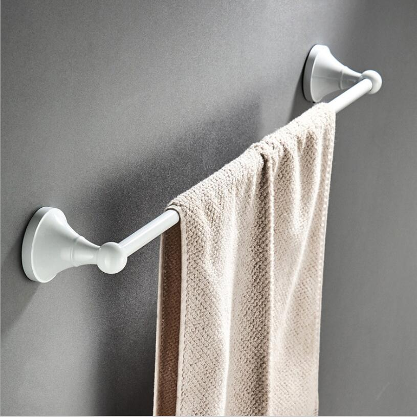 Towel Bars 60 cm Single Rail Brass White Towel Holder Bath Shelf Towel Hanger Wall Mounted Bathroom Accessories Towel Rack antique fixed bath towel holder wall mounted towel rack 60 cm brass towel shelf bathroom accessories brass towel rail