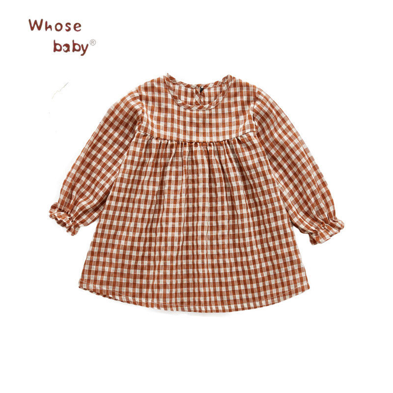 Baby Princess Dresses For Girls Cotton Plaid Print Infant Dress Vestido 2018 Spring Casual Little Girls Long Sleeve Kids Clothes 2 8 years little girls dress cotton baby kids clothing dresses for girls bow flounced neckline plaid olive green yellow dresses