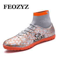 FEOZYZ New 2017 High Ankle Football Boots For Men Indoor Turf Soccer Shoes Hard Court Soccer