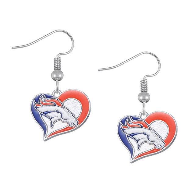 Hot Ing Heart Denver Broncos Football Drop Earrings Jewelry Alloy Dangle For Fans