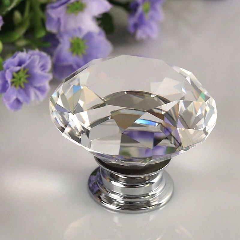 UNILOCKS 100Pcs 30mm K9 Crystal Glass Diamond Furniture Handles Drawer Wardrobe Kitchen Cabinets Cupboard Door Pull