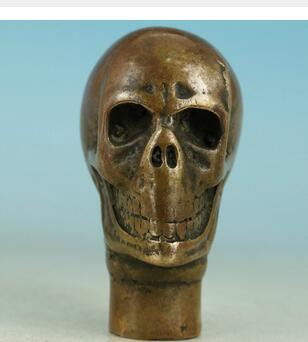 100% brass Pure Copper Brass Grandpa Good Lucky crafts Chinese Old  Handmade Carved Skull Statue Walking Stick Head