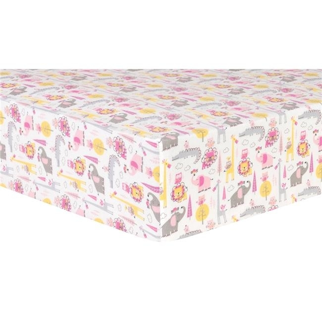 Trend Lab 102738 Whim G Pink Animal Safari Deluxe Flannel