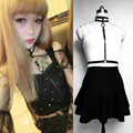 Handmade Sexy Harajuku Real Leather Harness, Double Rows Collar Choker Attach to Wasit Belt Straps