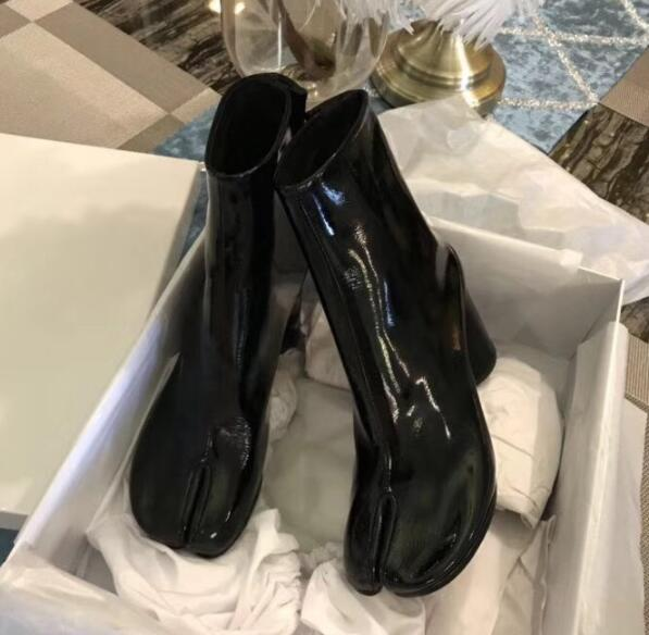 Botines mujer 2020 chunky high heel short ankle boots for woman square toe black patent leather rain boots luxury tabi bottes